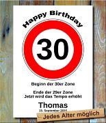 Tempolimit zum Geburtstag 30 Jahre