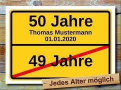 Ortsschild zum Geburtstag 50 Jahre